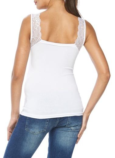 Modal Likralı Dantelli Bluz-Sevim
